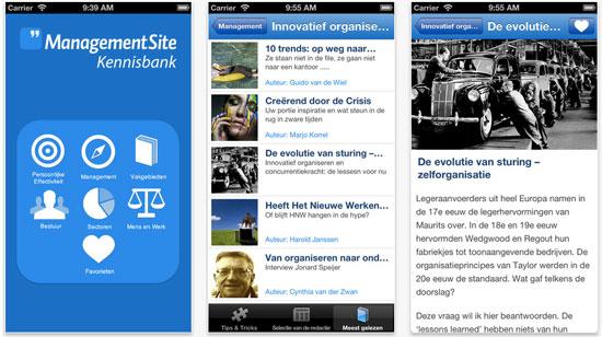 ManagementSite Kennisbank app (screenshots)